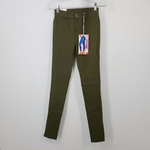 JVINI High Waisted Stretch Green Color Jeggings